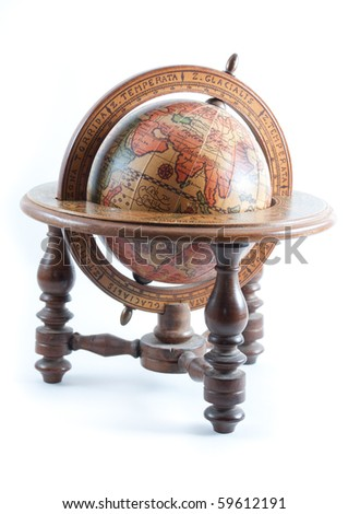 Old wooden globe on wood stand showing Europe on isolated white background. - stock photo