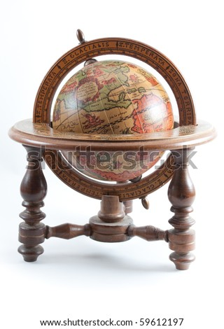 Old wooden globe on wooden stand showing north america on white isolated background.