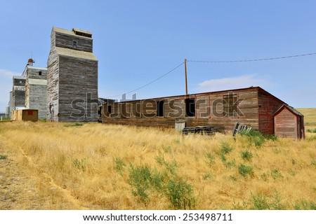 Old Wooden Grain Elevator in Montana - stock photo