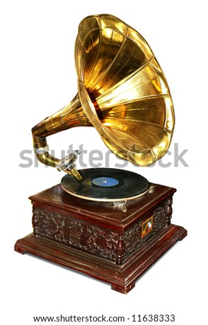Old wooden gramophone with disc. - stock photo