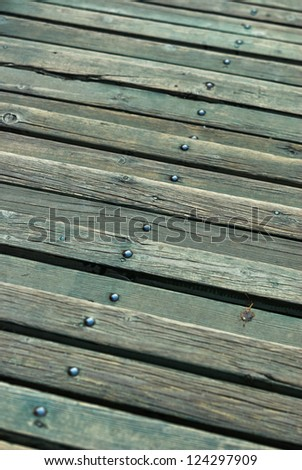 Old wooden green vintage stairs as background. Small Depth of Field