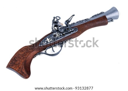 Old wooden gun isolated on white - stock photo
