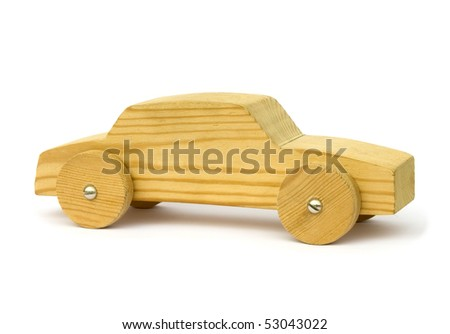 Old wooden homemade toy car on white background - stock photo