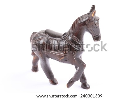 old wooden horse isolated on the white background - stock photo