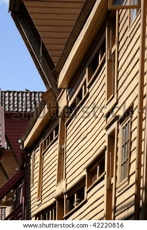 Old wooden house at bryggen in bergen, Norway