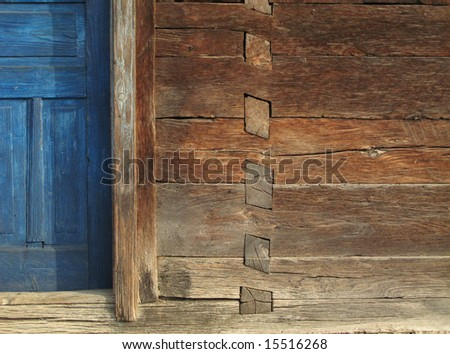 Old wooden house detail close-up - stock photo