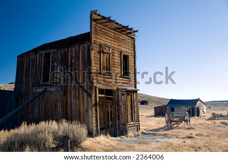 Old wooden house in Bodie ghost town in California. - stock photo