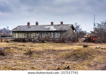 Old wooden house in Latvia, Riga - stock photo