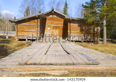 Old wooden house in Malye Karely (Little Karely) near Arkhangelsk, north of Russia, Europe - stock photo