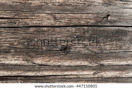 Old wooden house in the Belorussian village. Detail of a wall. The surface of the timber, the morning light illuminated. Macro. Close-up. Precise details at high magnification. - stock photo