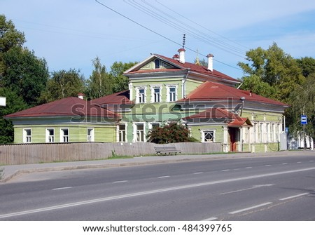 Old wooden house in the center of Vologda, Russia