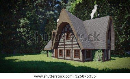 Old wooden house in the dark forest. - stock photo