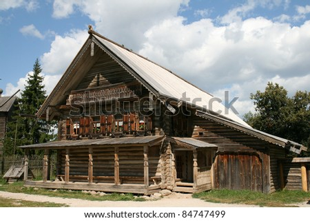 Old wooden house in Vitoslavlitsy Great Novgorod Russia - stock photo