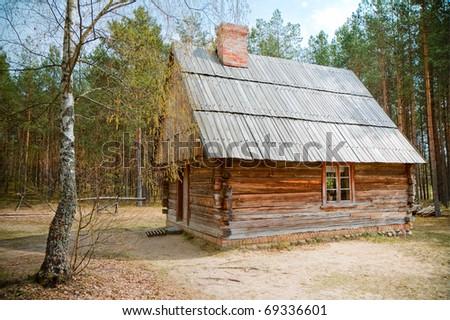 old wooden house, Poland, Kashuby, Wdzydze - stock photo