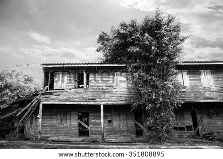 old wooden  house with thai style