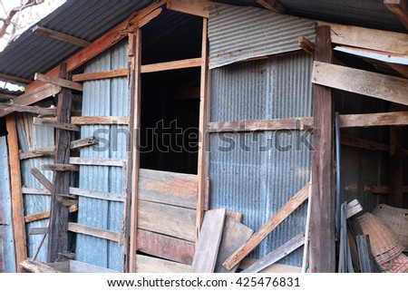 Old wooden house with Thai style in color - stock photo
