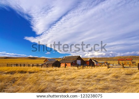 Old wooden houses in ghost town in Colorado, United States - stock photo