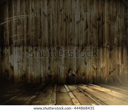 old wooden interior, grunge background - stock photo
