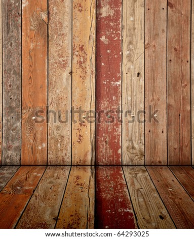 old wooden interior, is empty for your design - stock photo