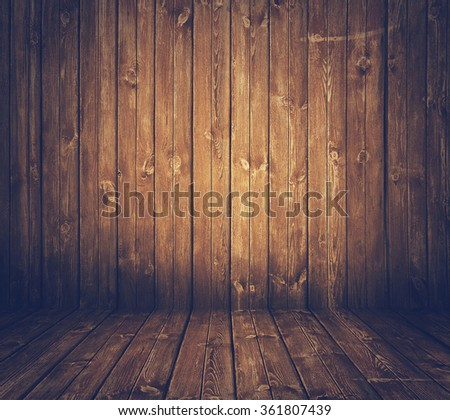 old wooden interior, retro filtered, instagram style - stock photo
