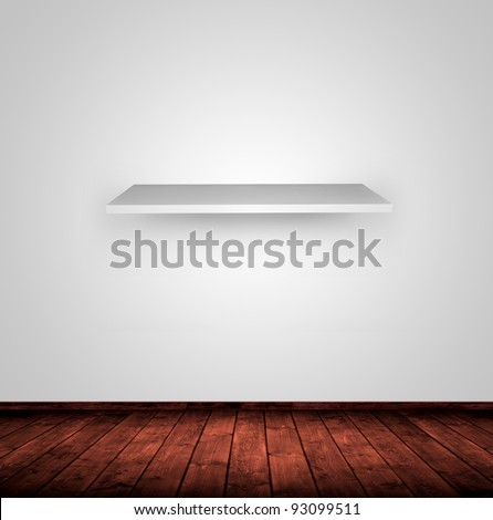 old wooden interior room with a shelf. - stock photo