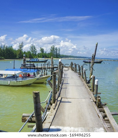 Old wooden jetty in Johor, Malaysia - stock photo