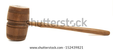 Old wooden judges gavel isolated on white