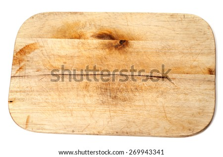 Old wooden kitchen board isolated on white background - stock photo