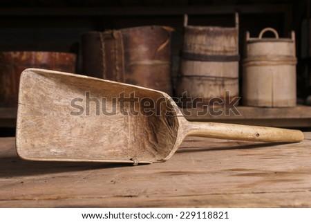 old wooden kitchen tool - stock photo