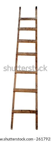 Old wooden ladder on the white background  - stock photo