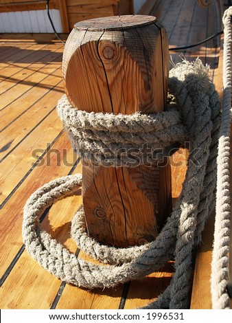 Old wooden moor on a ship, details - stock photo
