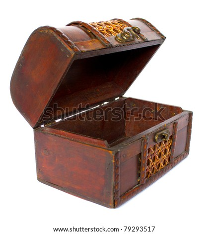 Old wooden open chest - stock photo