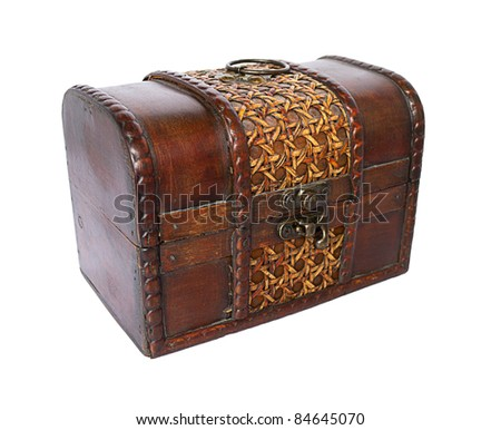 Old wooden open chest