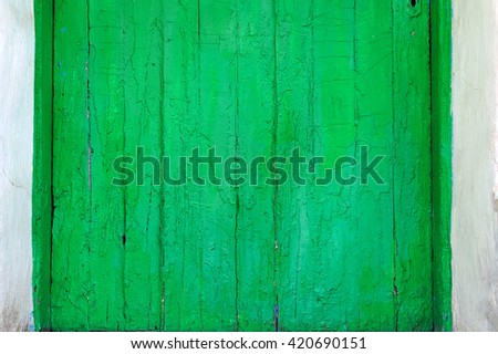 old wooden painted green fence background - stock photo