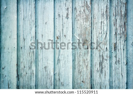 Old wooden painted light blue rustic background, paint peeling - stock photo