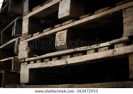 Old wooden pallet - stock photo