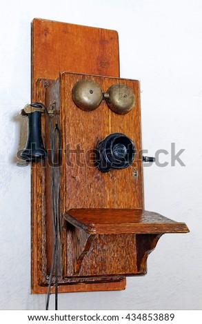 Old wooden Phone Illustration - stock photo