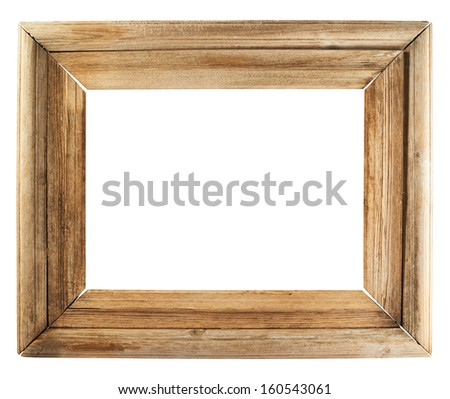 Old wooden picture frame isolated over white background - stock photo