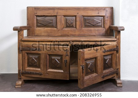 Old Wooden Piece of Furniture - stock photo