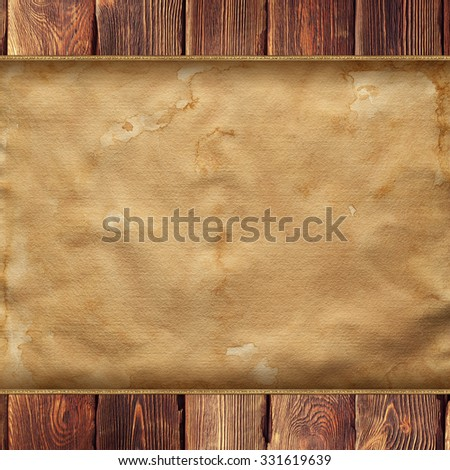 Old wooden planks and sheet of old paper - stock photo