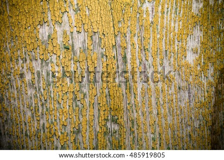 Old wooden planks with peeling paint like background. Toned.