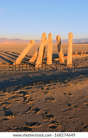 Old wooden posts in the salt flats near the Great Salt Lake, Utah, USA. - stock photo