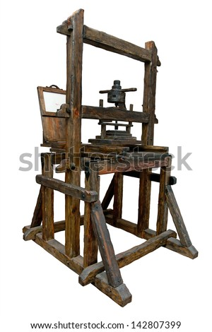 Old wooden printing press. Clipping path included. - stock photo