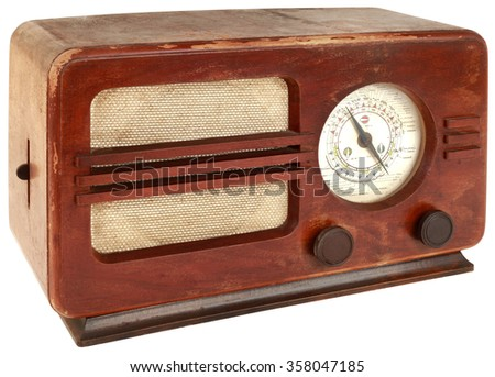 Old Wooden Radio Apparatus Isolated with Clipping Path - stock photo