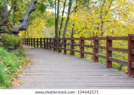 Old wooden road in a beautiful autumn park in Korosten, Ukraine - stock photo