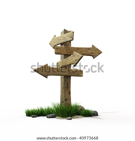 Old wooden road sign - stock photo