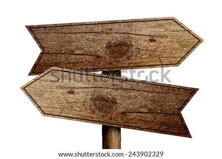 Old wooden road sign isolated on white background. - stock photo