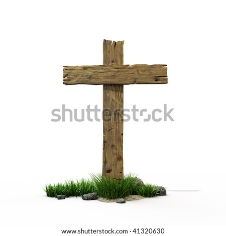 Old wooden road sign with narrow blank - stock photo