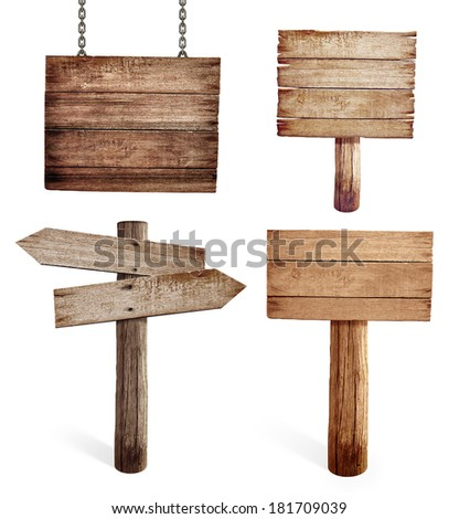 Old wooden road signs set isolated - stock photo