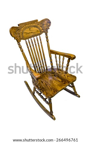 old wooden rocking-chair at white background - stock photo